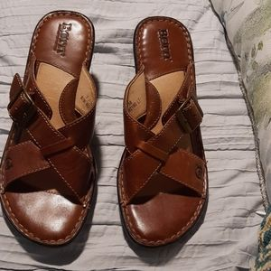 Born Brown Buckle Wedges